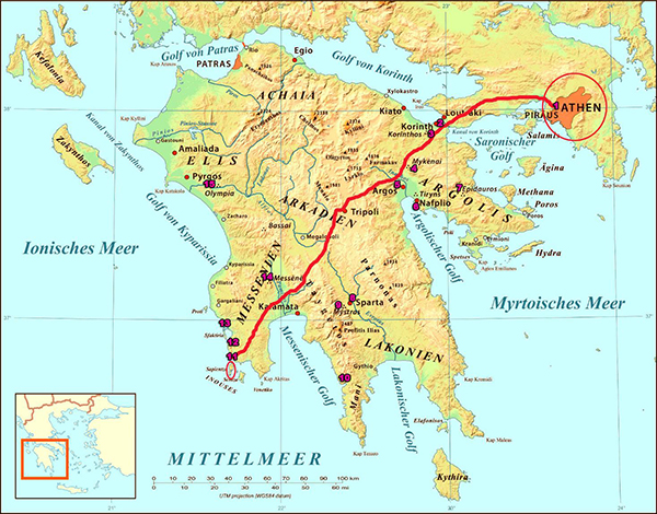 Road Athen to Methoni small